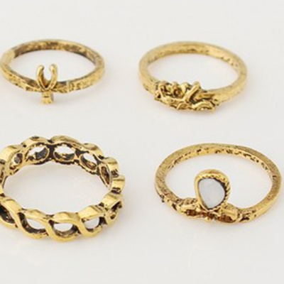 Fashion Vintage Engraving Flower Gem Hollow Out Alloy 10 Piece Rings stylesimo.com