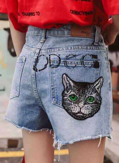 Summer Casual Retro Wash High Waist Wide Leg Pockets Denim Shorts