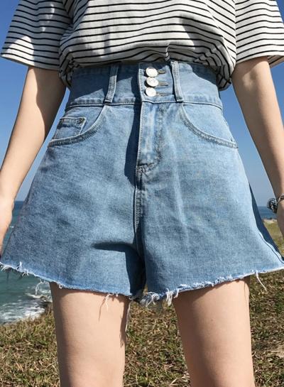 Summer Casual Retro Wash High Waist Burrs Straight Wide Leg Pocket Shorts stylesimo.com