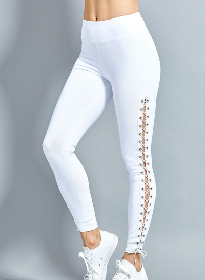 Fashion Sexy Slim Lace-Up Hollow Out Solid Sports Leggings