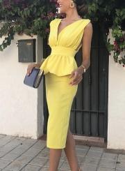 Sexy Sleeveless V Neck High Waist Solid Bodycon Cocktail Dress
