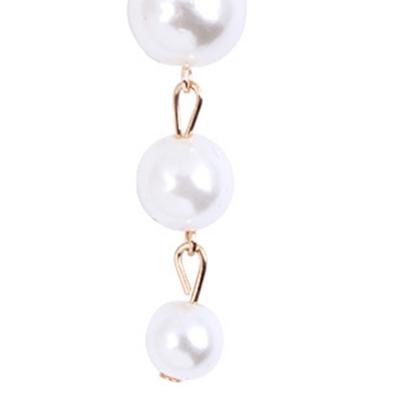 Fashion Alloy Six Pearls Tassel Drop Earrings stylesimo.com