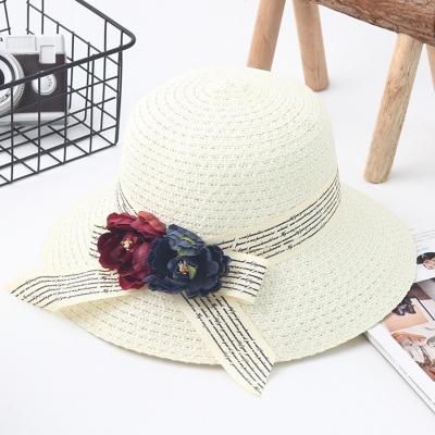 Flower Straw Floppy Foldable Rolled Up Beach Sunscreen Hat