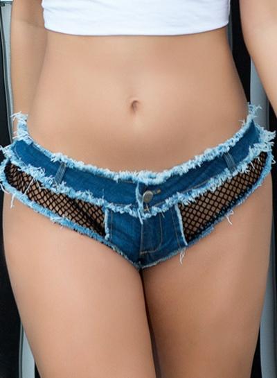 Blue Sexy Wash Mesh Splicing Low Waist Zipper Fly Night Club Burrs Hot Shorts stylesimo.com
