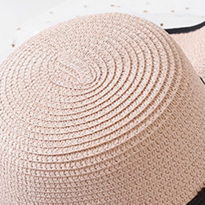 Casual Straw Floppy Foldable Beach Sunscreen Hat With Wave Ribbon stylesimo.com
