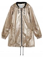 Hooded Long Sleeve Full Zip Loose Solid Color Hip-Hop Coat
