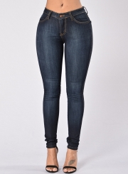 Casual Solid Retro Wash High Waist HIgh Elasticity Skinny Fit Jeans