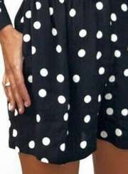 V Neck Long Sleeve Wide Leg Polka Dot Slim Romper With Pockets