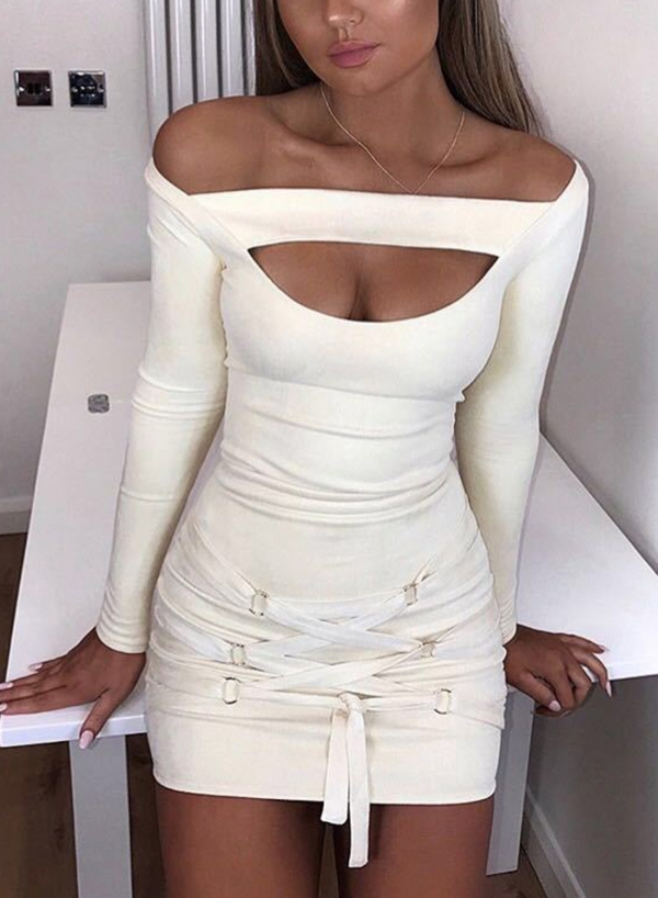 Off The Shoulder Bandage Long Sleeve Bodycon Mini Dress