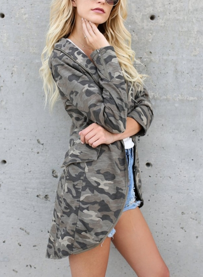 Camouflage Full Zip Turn-Down Collar Long Sleeve Pockets Suit Coat