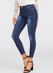 Casual High Waist Zipper Fly Pencil Jeans With Pockets