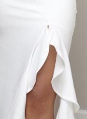 White Slim One Shoulder Slit Ruffle Cocktail Dress