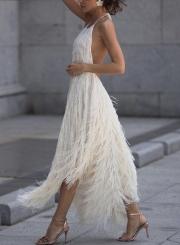 White Sleeveless Backless Irregular Swing Dress With Tassel
