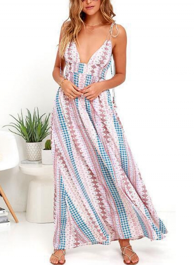 Floral Print Spaghetti Strap V Neck Elastic Waist Swing Maxi Dress STYLESIMO.com