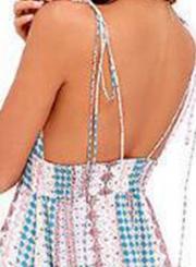 Floral Print Spaghetti Strap V Neck Elastic Waist Swing Maxi Dress