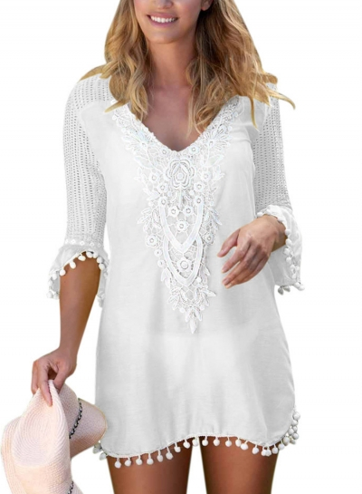 White V Neck Half Sleeve Lace Hollow Out Loose Pullover Dress STYLESIMO.com