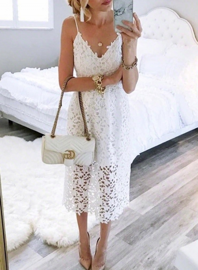 White Spaghetti Strap V Neck Lace Hollow Out Dress With Zip STYLESIMO.com