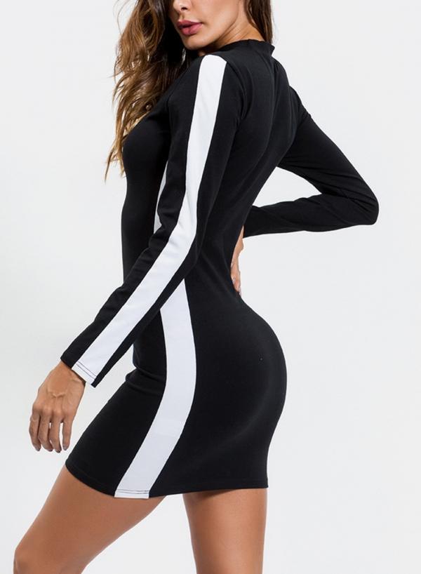 Black Side Stylish Striped Active Slim Bodycon Dress