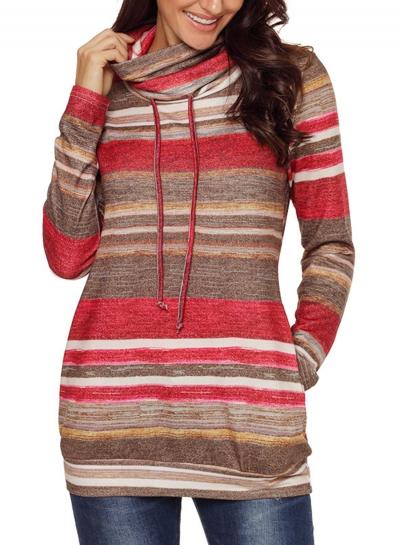 Red Women's Striped Long Sleeve High Neck Loose Pockets Knitwear