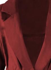 Burgundy Slit Coat Windbreaker For Women