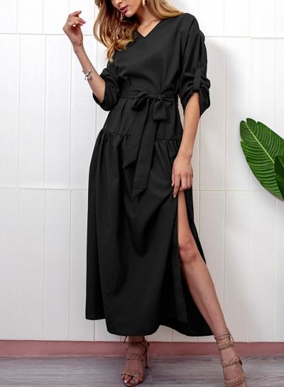 Black Casual V Neck Long Sleeve Bow Tie Slit Loose Dress STYLESIMO.com