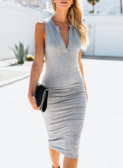 Grey Sleeveless V Neck Solid Color Bodycon Maxi Dress STYLESIMO.com