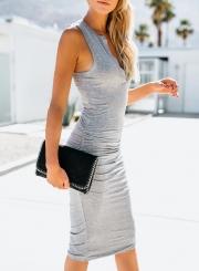 Grey Sleeveless V Neck Solid Color Bodycon Maxi Dress