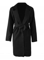 Black Autumn Thin Slit Coat Windbreaker