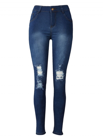 Stretch Destroyed Ripped Distressed Skinny Pencil Jeans