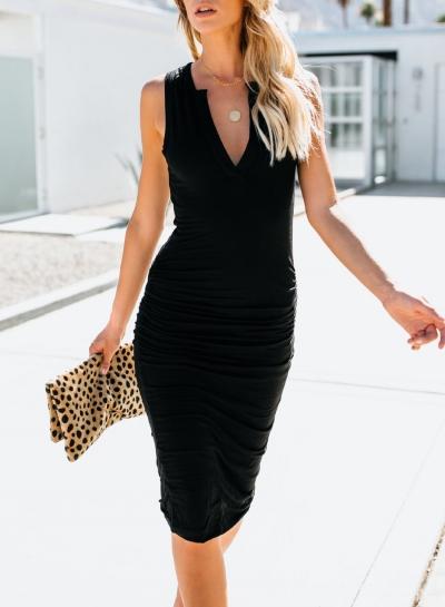 Black Sleeveless V Neck Solid Color Bodycon Maxi Dress
