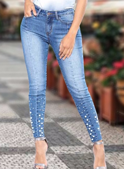Destroyed Ripped Distressed Beading Design Ankle Length Jeans