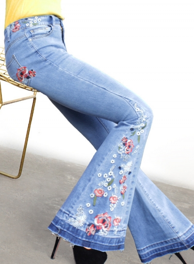 Blue Slim Embroidered Faded Flared Jeans