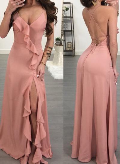 Pink Spaghetti Strap Backless High Slit Evening Dress