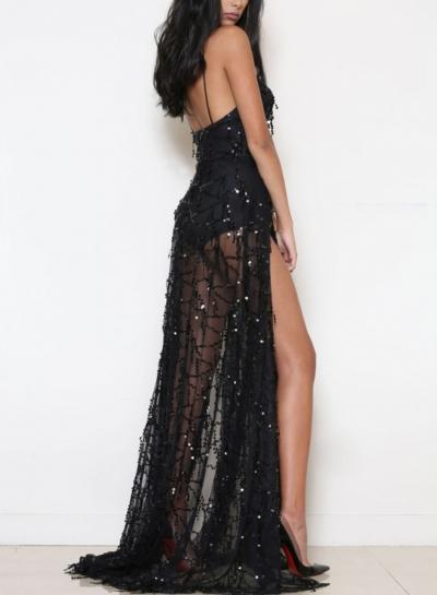 Black Sequin Spaghetti Strap Backless High Slit Evening Dress