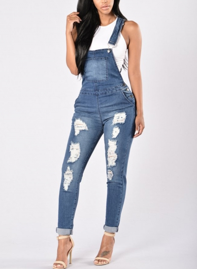 Casual Overalls Ripped Hole Pants Adjustable Strap Jumpsuit Jeans