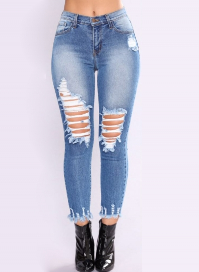Destroyed Ripped Stretch Faded Slim Fit Skinny Denim Jeans
