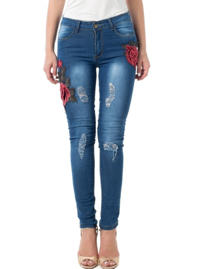 Casual Ripped Pants High Waist Slim Fit Skinny Embroidered Jeans